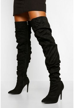 Black Slouched Stiletto Heel Thigh High Boots