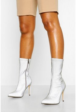 Grey Reflective Stiletto Heel Sock Boots