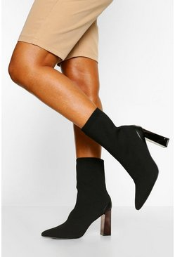 Glossy Heel Pointed Toe Sock Boots, Black negro