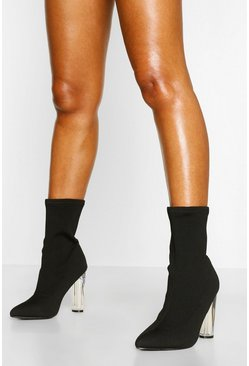Black Knitted Clear Heel Sock Boots