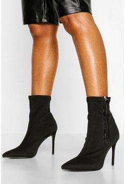 Black Zip Side Stiletto Heel Sock Boots