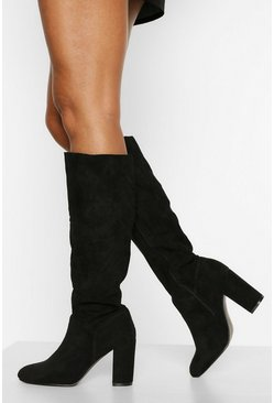 Black Block Heel Knee High Boots