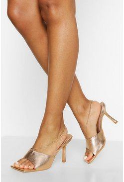 Gold metallic Square Toe Chain Detail Mule