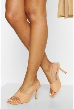 Square Toe Chain Detail Mule, Nude