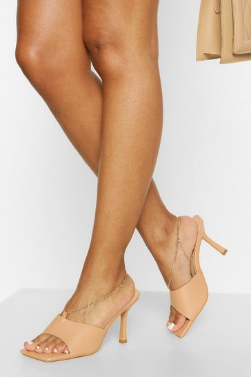 Nude Square Toe Chain Detail Mule