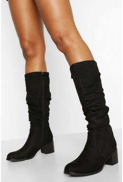 Black Low Block Heel Slouched Knee High Boots