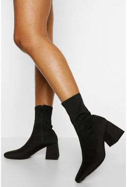 Black Block Heel Square Toe Sock Boots