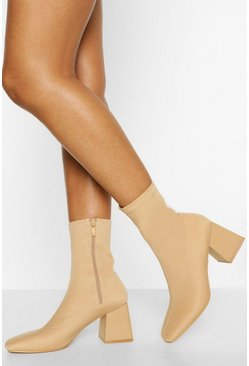 Nude Block Heel Square Toe Sock Boots