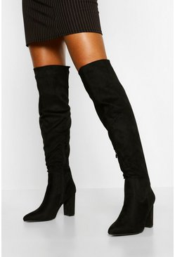 Black Block Heel Thigh High Boots