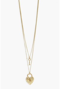 Gold metallic Layered Heart Lock And Key Necklace