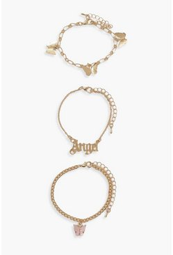 Gold metallic Slogan And Butterfly 3 Pack Bracelets