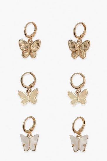 Gold metallic 3 Pack Butterfly Mini Hoop Earrings