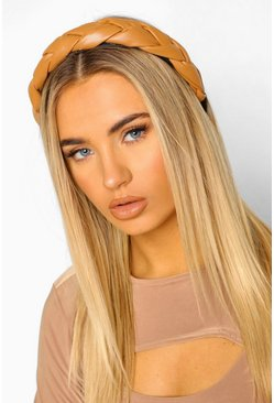Camel beige Pu Plaited Headband