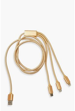 Multi End Charging Cable , Gold metallic
