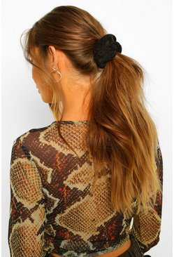 Black Knitted Chenille Scrunchie