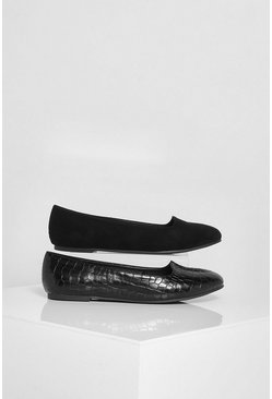 Black 2 Pack Basic Slipper Ballet Pumps