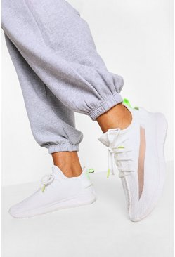 White Contrast Knitted Sports Trainers