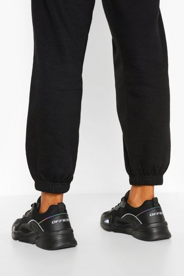 Black Reflective Piping Chunky Sports Trainers