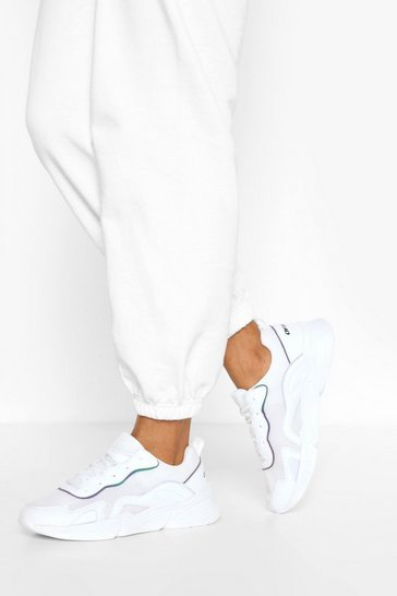 White Reflective Piping Chunky Sports Trainers