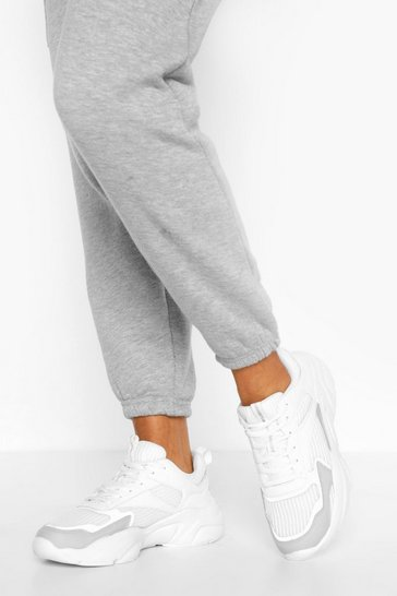 White Reflective Chunky Sports Trainers