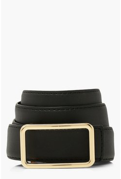 Black Smooth Pu Simple Rectangle Buckle Belt