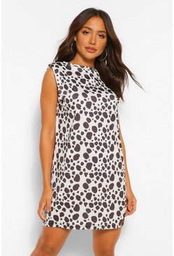 White Dalmation Print Shoulder Pad Tee Dress