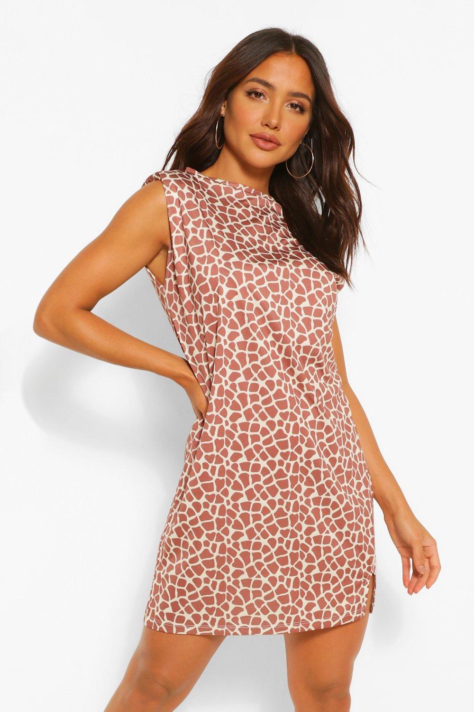 Womens Sale Graffiti Print Shoulder Pad Tee Dress
