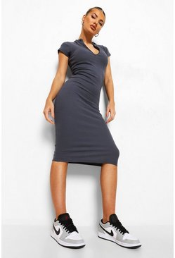 Charcoal grey High Neck Zip Detail Midi Dress