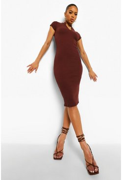 Chocolate brown High Neck Zip Detail Midi Dress