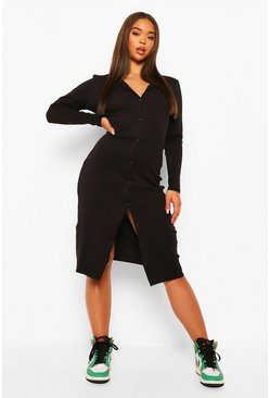 Rib Button Through Midi Dress, Black noir