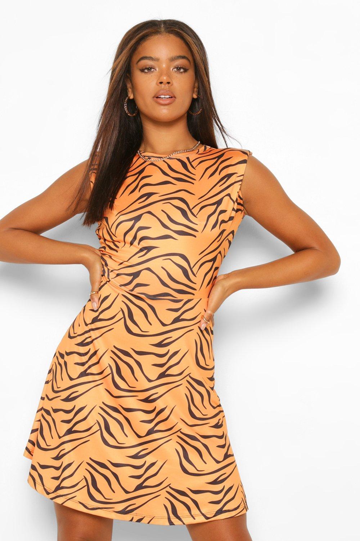 DRESSES Tiger Print Shoulder Pad Skater Dress
