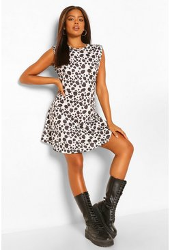 Black Dalmation Print Shoulder Pad Skater Dress