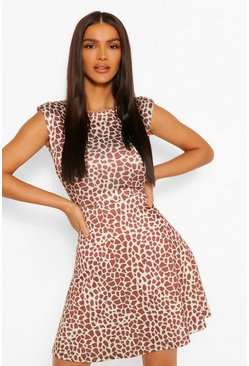Brown Graffiti Print Shoulder Pad Skater Dress