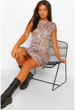 Brown Leopard Print Shoulder Pad Skater Dress
