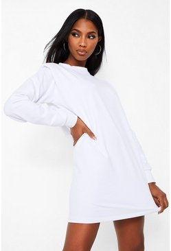 White Shoulder Pad Detail Sweatshirt Dress
