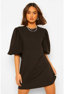 Black Sleeve Detail Balloon Sleeve Sweater Dress