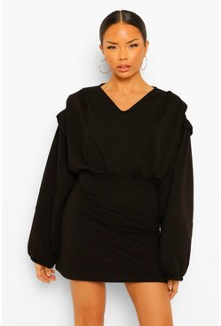 Black Seam Detail Balloon Sleeve V Neck Sweater Dress
