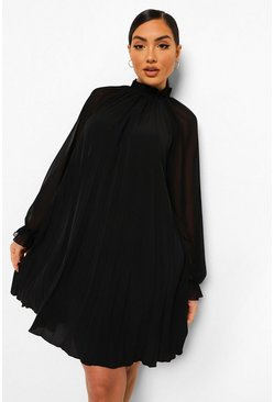 Black Pleated High Neck Swing Dress