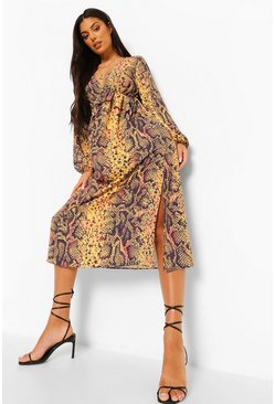 Rust Snake Print V Neck Frill Detail Maxi Dress