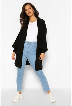 Black Knitted Extreme Balloon Sleeve Cardigan