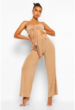 Camel beige Tie Front Crop Top and Wide Leg Trouser Co-Ord