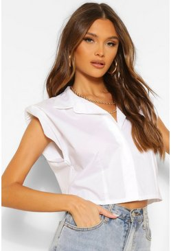 White Shoulder Pad Cotton Sleeveless Shirt