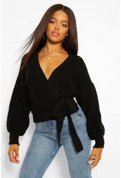 Black Wrap Tie Waist Cardigan