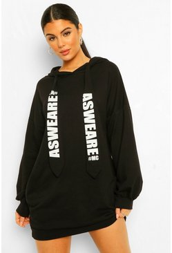 Black Oversized Slogan Sweat Dress