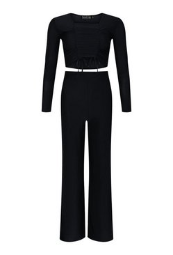 Black Slinky Ruched Top and Wide Leg Trouser Co-Ord