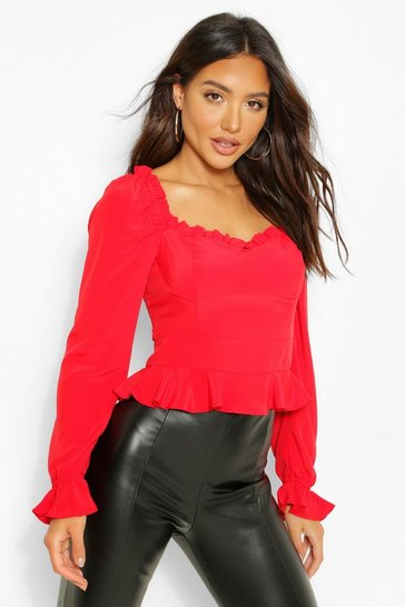 Red Ruffle Cup Detail Peplum Top