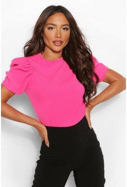 Hot pink pink Crepe Puff Sleeve Top