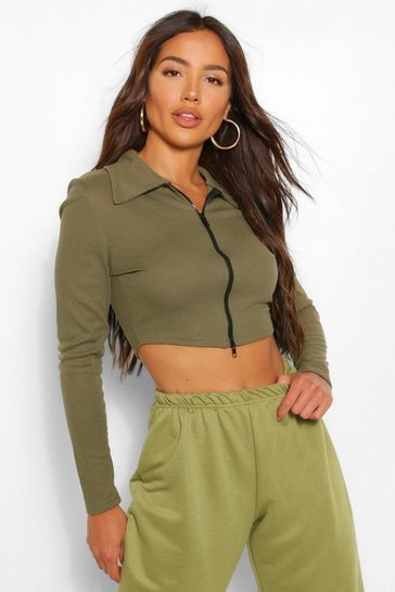 Khaki Ribbed Zip Through Polo Top