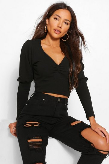 Black Crepe Ruched Puff Sleeve Top