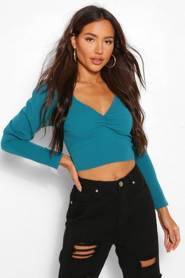 Teal green Crepe Ruched Puff Sleeve Top
